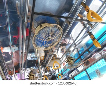 fan install for expel hot air in bus
