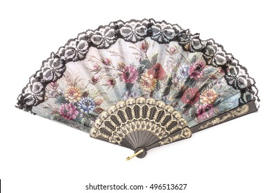 fan with lace isolated on white
