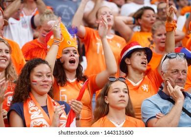 Fan Netherlands during FIFA Women's World Cup France 2019 semi-final football match Netherlands vs Sweden on 3 July 2019 Groupama Stadium Lyon France