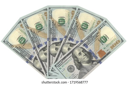 Fan of real hundred dollars banknotes   isolared five hundred dollars