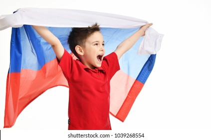 Fan sport boy patriot hold national russian flag celebrating happy smiling laughing free text copy space in red t-shirt isolated on white background