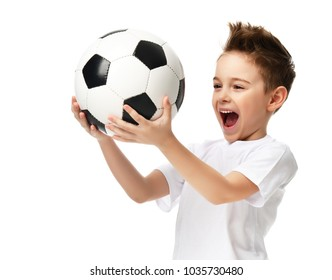 Fan sport boy player hold soccer ball celebrating happy smiling laughing free text copy space isolated on white background