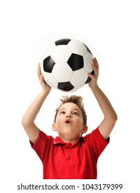 Fan sport boy player hold soccer ball in red t-shirt celebrating happy surprised free text copy space isolated on white background