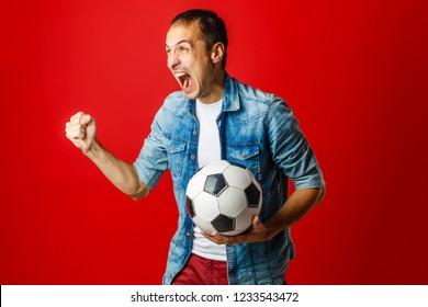 Fan / Sport Player celebrating on red background