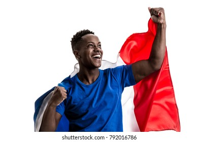 Fan / Sport Player holding the flag of France