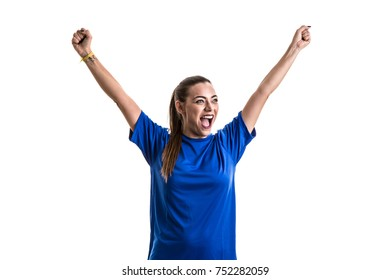 Fan / Sport Player on blue uniform celebrating on white background