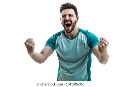Fan / Sport Player on green uniform celebrating on white background