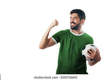 Fan or sport player on green uniform celebrating on white background