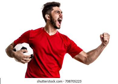 Fan / Sport Player on red uniform celebrating on white background