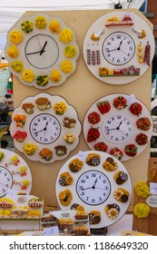 Fanano, Italy - July 3, 2016: Sale of national Italian cuisine souvenirs at the street gift shop