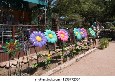 fanciful sunflowers of various colors on sale in a nursey