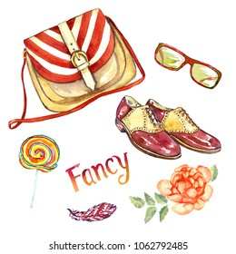 Fancy accessories set,  striped saddle bag type, glasses, leather saddle shoes, colorful lollipop, feather and red rose, hand painted watercolor illustration with inscription isolated on white b