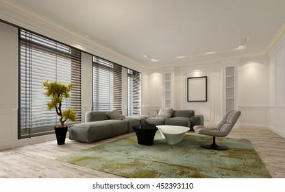 Fancy apartment living room interior with large floor to ceiling window blinds and soft gray modular sofa. Includes blank walls and picture frame with copy space. 3d Rendering.