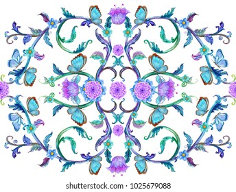 fancy arabesque with swirly ornaments and butterflies. watercolor painting.