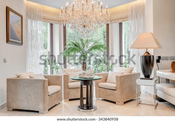 Fancy Armchairs Living Room Bay Window Stock Photo Edit Now
