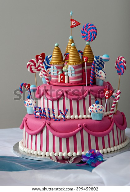 Strange Fancy Birthday Cake Candyland Theme Three Stock Photo Edit Now Funny Birthday Cards Online Elaedamsfinfo