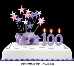 Fancy Cake With Number 100 Candles Decorated Ribbons And Star Shapes In Pastel