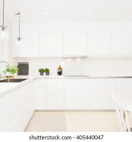 fancy clean scandinavian kitchen interior