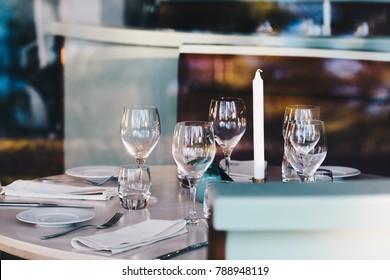 Fancy dinner table setting for four