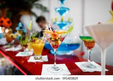 Fancy drinks prepared by professional bartender