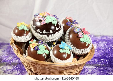 Fancy Expensive Decorated Chocolate Easter Eggs in a Basket