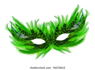 Fancy Festive green / black Feathers dress mask isolated on white background