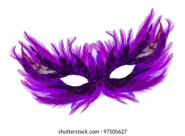 Fancy festive purple feathers dress mask isolated on white background