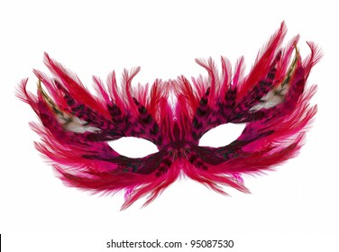 Fancy Festive purple / pink / red Feathers with Sequin dress mask isolated on white background