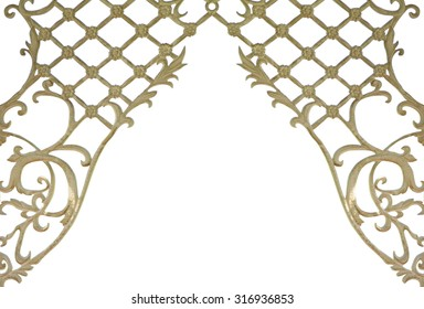 Fancy floral lattice frame isolated on white