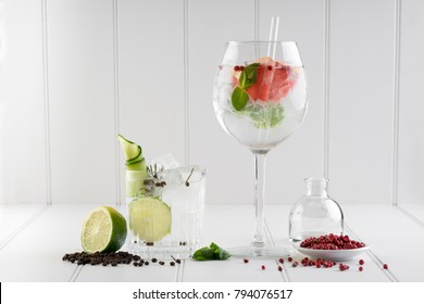 fancy gin and tonic selection drink alcohol cocktail craft fresh fruit spices mint glass bar