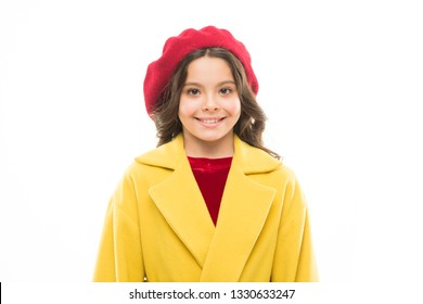 Fancy girl. Dress up like fashion girl. Kid little cute girl smiling face posing in hat isolated on white. Fashionable beret accessory for female. Spring fashion. Fashion accessory for little kids.