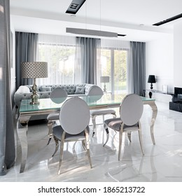 Fancy, glass dining table and glamour style chairs in white living room with marble floor tiles