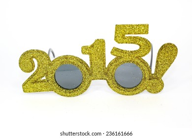 Fancy glasses for a New Year party 2015. isolated on white background