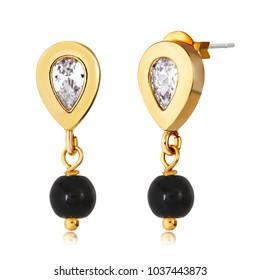 Fancy gold earrings with black beads