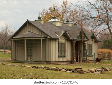 fancy hen house in autumn on overcast day