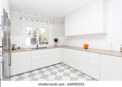 fancy kitchen interior with checkered floor