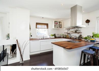 fancy kitchen interior with dark wooden floor