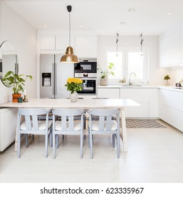 fancy kitchen interior with kitchen table