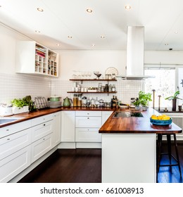 fancy kitchen interior with wooden counter top