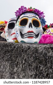 Fancy Lady Skull  Decorated skulls on an altar celebrating the Day of the Death in Mexico. They are made by several artisans or craftsmen in different regions of the country
