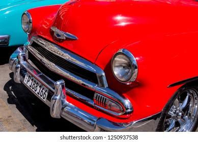 Fancy Old Cars - editorial image - Havana, Cuba. Colorful classic 1950's cars. Photo taken in Havana, Cuba 30 October 2018