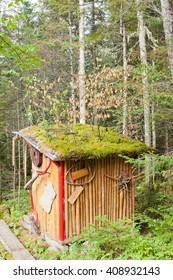 Fancy outhouse in the woods of Riviere-aux-Outardes, Quebec, Canada