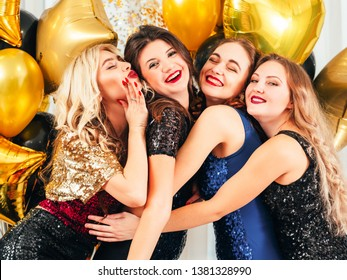 Fancy party. Long awaited meeting. Girls having fun time together, catching up after long time no see.