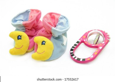 Fancy small child's shoes with toy