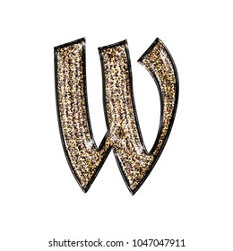 Fancy sparkling glittery gold style lowercase or small letter W in a 3D illustration with a golden sparkle glitter effect and royal ancient font isolated on a white background with clipping path.