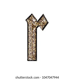 Fancy sparkling glittery gold style lowercase or small letter R in a 3D illustration with a golden sparkle glitter effect and royal ancient font isolated on a white background with clipping path.
