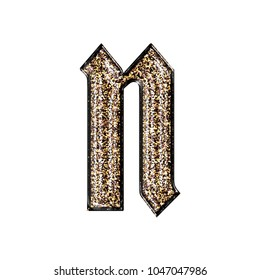 Fancy sparkling glittery gold style lowercase or small letter N in a 3D illustration with a golden sparkle glitter effect and royal ancient font isolated on a white background with clipping path.