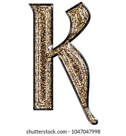 Fancy sparkling glittery gold style uppercase or capital letter K in a 3D illustration with a golden sparkle glitter effect and royal ancient font isolated on a white background with clipping path.