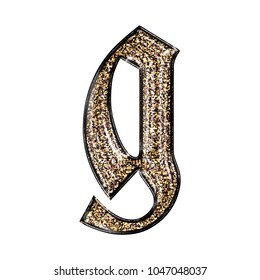 Fancy sparkling glittery gold style lowercase or small letter G in a 3D illustration with a golden sparkle glitter effect and royal ancient font isolated on a white background with clipping path.