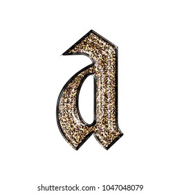 Fancy sparkling glittery gold style lowercase or small letter A in a 3D illustration with a golden sparkle glitter effect and royal ancient font isolated on a white background with clipping path.
